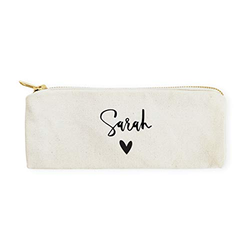 The Cotton & Canvas Co. Personalized Name Heart Pencil Case, Cosmetic Case and Travel Pouch for Office and Back to School
