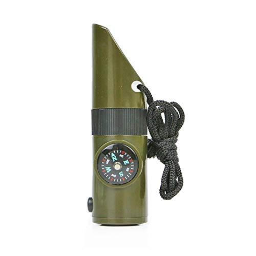 WPCBAA 7 en 1 Mini SOS Survival Kit Camping Supervivencia Silbato con Brújula Termómetro Linterna Lupa Herramientas Senderismo al Aire Libre