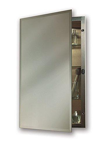"""Jensen 1448X Bevel Mirror Medicine Cabinet, 16"""" x 26"""", Stainless Steel"""