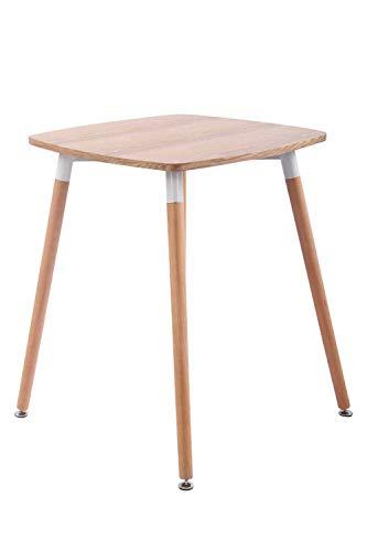 CLP Küchentisch VIBORG I Esstisch Mit MDF Tischplatte I Bistrotisch Mit Buchenholzgestell, Farbe:Natura, Größe:60 cm