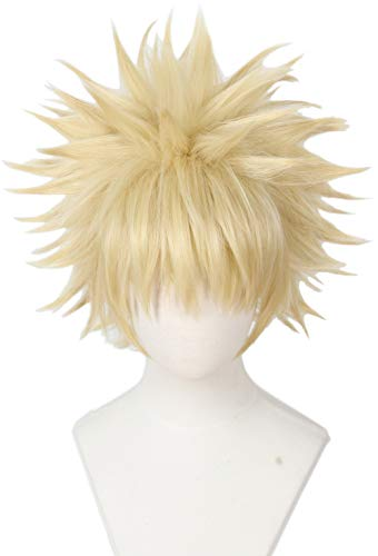 Linfairy Anime Cosplay Wig Short Blonde Hair Halloween Costume Full Wig