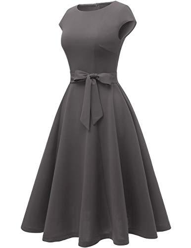 DRESSTELLS Women's Prom Tea Dress Vintage Swing Cocktail Party Dress with Cap-Sleeves Darkgrey M