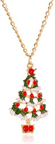 Necklace for Women Men Joyería de Dibujos Animados de Color navideño Lindo Aceite de Goteo Pendientes y Collar de árbol de Navidad Conjunto de Joyas de aleaciónPendant Necklace Girls Boys Gift