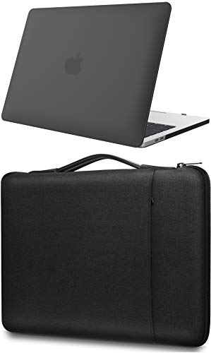 ProCase Hard Case and Sleeve Bag, for MacBook Pro 13 M1,2020 2019 2018 2017 2016 (Model: A2338 A2289 A2251 A2159 A1989 A1706 A1708), Protective Laptop Shell Cover for Macbook Pro 13.3 -Black