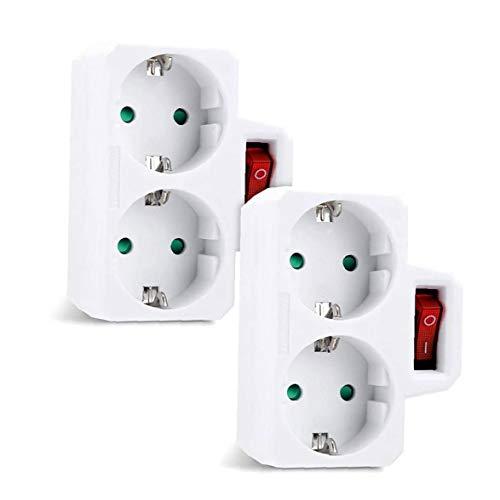 Zócalo del adaptador de enchufe múltiple para el interruptor doble zócalo de enchufe de la UE al alemán enchufable para la norma alemana de sockets Blanca 2 piezas de equipo eléctrico industrial