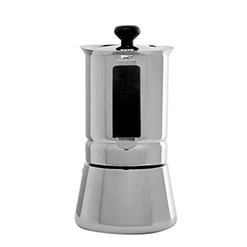 Oroley - Cafetera Italiana Arges | Acero Inoxidable | 2 Tazas | Cafetera Inducción, Vitrocerámica, Fuego y Gas | Estilo Tradicional