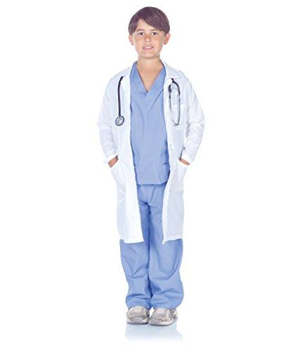Underwraps Children's Doctor Scrubs With Lab Coat Costume Set, Blue/White, Large (10-12)