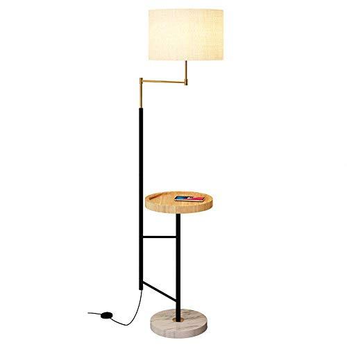 Preisvergleich Produktbild DROMEZ Stehlampe Skandinavisch,  LED Dimmbar Stehleuchte mit Drahtlos Aufladen,  Höhenverstellbar,  Holz Ablage,  Timing-funktion,  Lampenschirm aus Stoff,  Fernbedienung Bluetooth Leselampe für Wohnzimmer