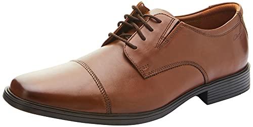 Clarks Tilden Cap, Zapatos de Cordones Derby Hombre, Marrón (Dark TanLea), 42.5 EU
