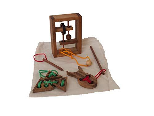 ROMBOL Seilpuzzle, Set 3, Vier Verschiedene Seilpuzzle, Holzspiel, Denkspiel, Knobelspiel, Geduldspiel aus Holz
