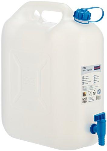 Hünersdorff Bidón para agua ECO 22L con grifo, PEAD natural, con grifo de descarga azul montado de forma fija