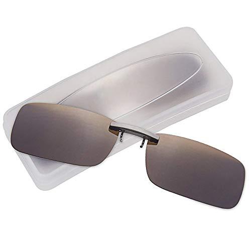 クリップオン サングラス 偏光サングラス クリップ UV400 夜間運転 偏光スポーツサングラス 偏光レンズ メガネの上からつけられる 付きサングラス 跳ね上げ 偏光クリップ眼鏡 紫外線カット 前掛けクリップ式サングラ ス 収納ケース付き 超軽量 (ブラウ