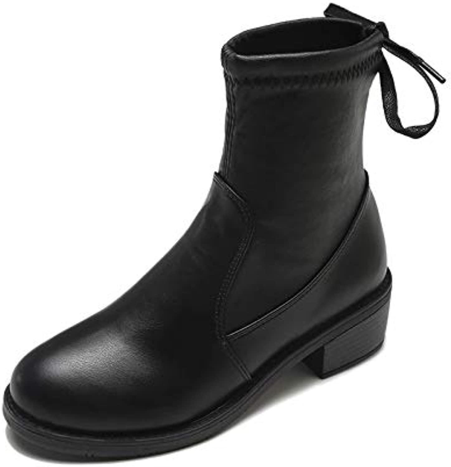 Casual Ladies Boots Soft face with Low Heel shoes Black 38EU