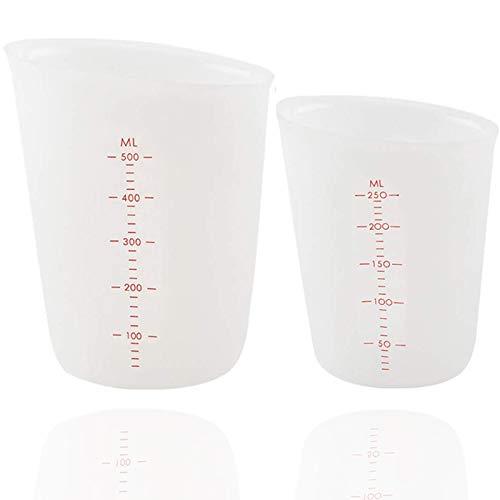 Vasos Medidores de Silicona, 2PCS Vasos Medidores de Silicona Transparente, Vaso Medidor Silicona Reutilizable 500ml/250ml, Vasos Medidores de Silicona para Resina, Manualidades, Cocina