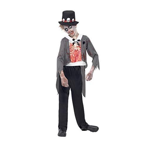 SMIFFYS Costume Zombie Sposo, Nero, comprende Giacca, Camicia Finta Stampata, Pantaloni