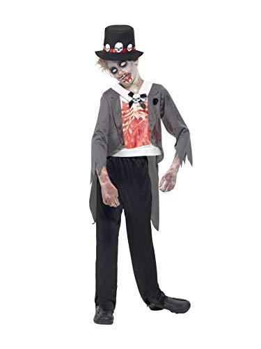 Smiffys, kinder jongens zombie-bruidegom kostuum, jas, bedrukt mock overhemd, broek en hoed, maat: L, 44031