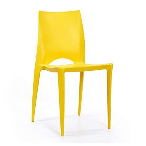 Stühle Möbel PP Kunststoffstuhl Sitzplatz, Verdickung Erhöhen, Stapelbares Design Zuhause Restaurant Einfache Lounge ZX Haushalt Wohnen (Color : Yellow)