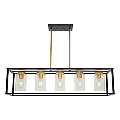 VINLUZ Farmhouse Chandeliers for Kitchen Island with Clear Glass Shade Black and Brushed Brass 5 Light Dining Room Lighting Fixtures Hanging, Rectangle Pendant Lights Industrial Modern Ceiling Light