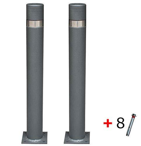 Pilona fija reforzada con placa interior modelo City. Bolardo de hierro con parte superior en acero inoxidablede 95x800 mm para atornillar a suelo (2-Pilonas + Tornillería)
