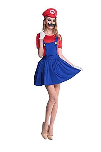 thematys Super Mario Luigi Gorra + Vestido + Barba + Guantes - Conjunto de Vestuario para Mujer Carnaval y Cosplay (L, Talla 165-170cm)