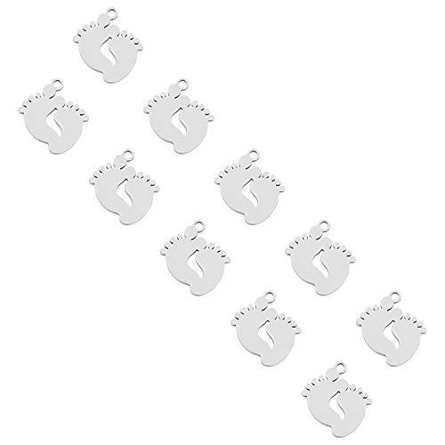 UNICRAFTALE 20 Uds Lindo Colgante de Pies Hipoalergénico Encantos Planos Colgantes de Acero Inoxidable 1.5mm Pequeño Agujero Encantos Lisos