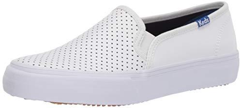 Keds Women's Double Decker PERF Leather Sneaker, White, 7 M US