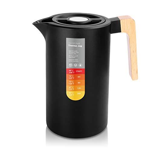 Yuanj Thermoskanne 1L, Stainless Steel 304, Vakuum Kaffeekanne mit...
