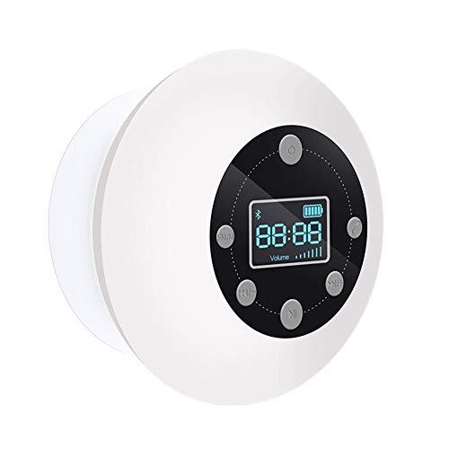 AZZ Bluetooth 4.1 Duschradio Mit LED Digitalem Bildschirm, Saugnapf, IPX7 Wasserdicht Wireless FM Radio (Color : White)