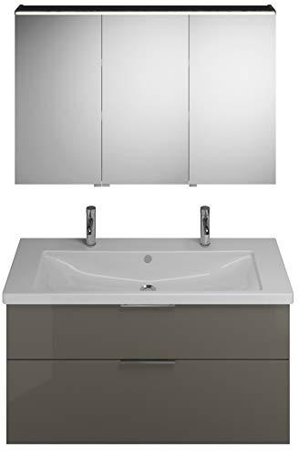 Burgbad Eqio set, SFAO123R, bestaande uit spiegelkast uitvoering rechts, keramische dubbele wastafel met 1 wastafel en badmeubel, breedte: 1230 mm, Kleur (voorzijde/karkas): Grijs hoogglans / grijs glans, handvat G0146 - SFAO123RF2010G0146