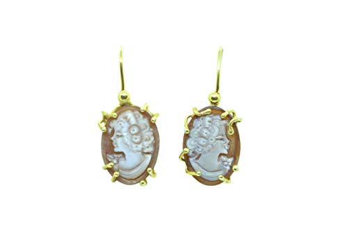 Ohrringe mit Kamee, handgraviert, aus 925er-Silber, vergoldet, Turm des Griechenlands