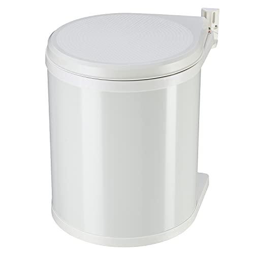 Hailo Compact-Box M Einbau Mülleimer   1 x 15 Liter   Einbaumülleimer mit Deckel-Lift-System   für Schranktüren ab 40 cm Breite   Stahlblech   Einbau Küchenmülleimer   Made in Germany   weiß