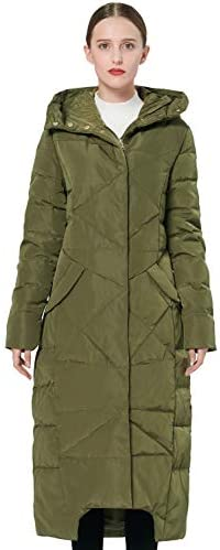 Orolay Women s Puffer Down Coat Winter Maxi Jacket with Hood Green L product image