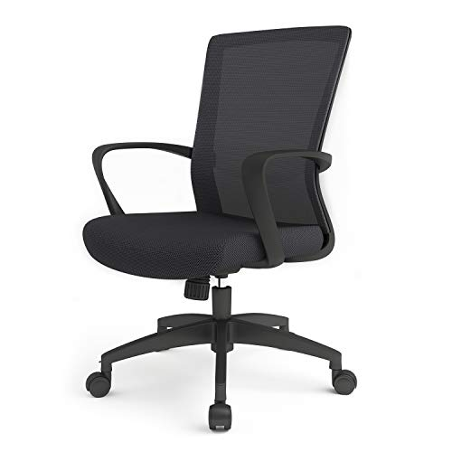 LIANFENG Office Desk Chair, Mid Back Swivel Lumbar Support Desk Chair, Ergonomic Mesh Computer Task Chair with Armrests, Black (Black)