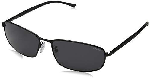 Police - Gafas de sol Rectangulares S8650 para hombre, SEMI-MATT BLACK FRAME/SMOKE LENS