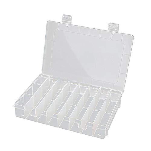 20 * 13.8 * 3.8cm De Plástico Transparente Organizador Del Envase, Caja De Almacenaje Ajustable Divisor Removible Para Clasificación Anillos Pendientes Perlas De Joyería (24 Grid) Accesorios De Moda