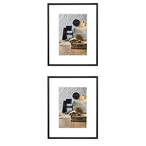 Hama 2er Set Bilderrahmen Sevilla DIN A3 (29,7x42 cm) und DIN A4 (21x29,7 cm) (Fotorahmen mit Papier-Passepatout, Kunstoff-Rahmen zum Aufhängen) schwarz