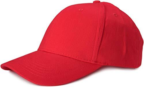 styleBREAKER Gorra clásica de 6 Paneles con Superficie cepillada, Gorra de béisbol, Ajustable, Unisex 04023018, Color:Rojo