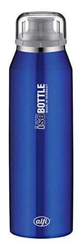 alfi 5677.103.050 Isolier-Trinkflasche isoBottle, Edelstahl Pure Blau  0,5 l, 12 Stunden heiß, 24 Stunden kalt, Spülmaschinenfest, BPA-Free
