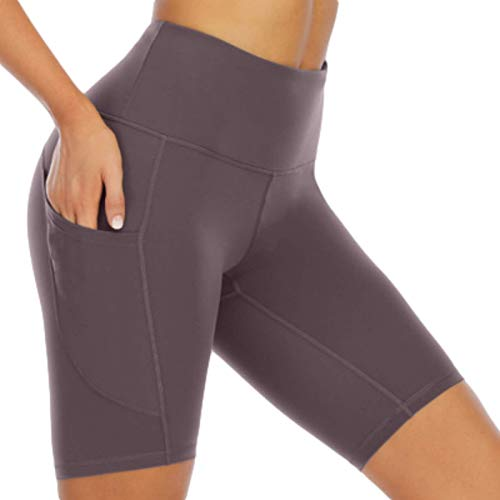Qinvern Pantalones Cortos de Yoga para el Sudor para Mujer Entrenamiento de Estiramiento de salón de Secado rápido con Bolsillos para teléfono Ocultos en Varios Lados Color Puro S
