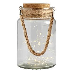 Transomnia Storm Lantern Light Up LED Glass Bottle - String Lights In Jar