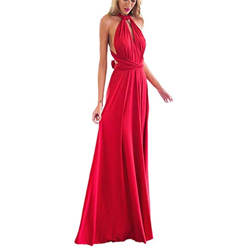 Women's Transformer Convertible Multi Way Wrap Long Prom Maxi Dress V-Neck Hight Low Wedding Bridesmaid Evening Party Grecian Dresses Boho Backless Halter Formal Cocktail Dance Gown Red Large