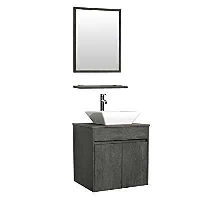 "eclife 24"" Bathroom Vanity Sink Combo Wall Mounted Concrete Grey Cabinet Vanity Set Square White Ceramic Vessel Sink Top, W/Chrome Faucet, Pop Up Drain & Mirror (A07E03CC)"