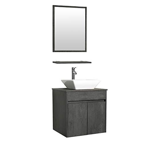 "eclife 24"" Bathroom Vanity Sink Combo Wall Mounted Concrete Grey Cabinet Vanity -"
