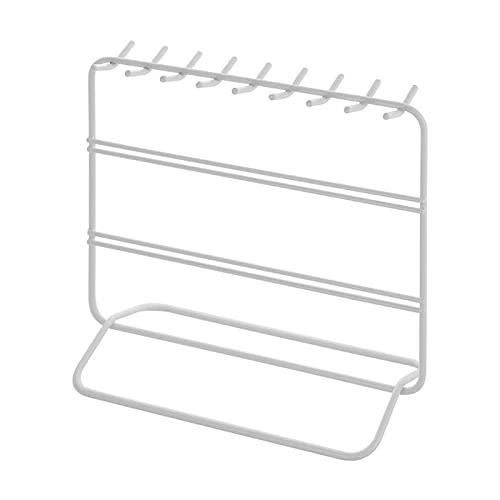 jwj Estante de joyería con pendientes de ho soporte de joyería para collares, soporte de exhibición de metal, estante de joyería (color: blanco)