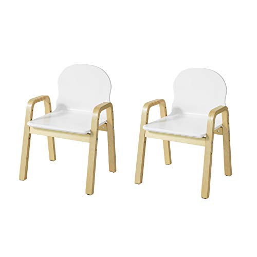 SoBuy KMB24-Wx2 2er Set Kinderstuhl höhenverstellbar Stühlchen mit Armlehnen und Rückenlehne Kindermöbel Kindersitzmöbel weiß Sitzhöhe 23-35cm