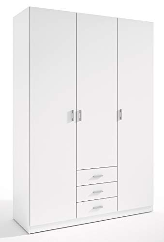 Miroytengo Armario ropero Color Blanco 3 Puertas 3 cajones Gran Capacidad 150x216x53 cm