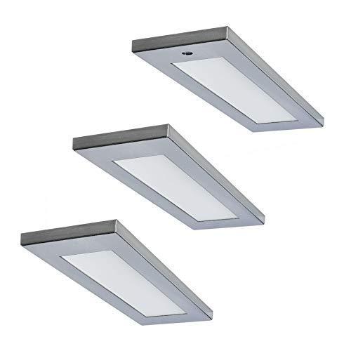 Preisvergleich Produktbild LED Küchen Unterbauleuchte Mona 3 x 4 W warmweiss Edelstahl Optik Sensor Flächen-LED *571598