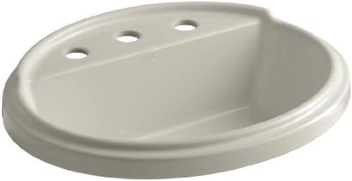 KOHLER K-2992-8-K4 Tresham Oval Shaped Self-Rimming Bathroom Sink with 8-Inch Widespread Faucet Drilling Cashmere