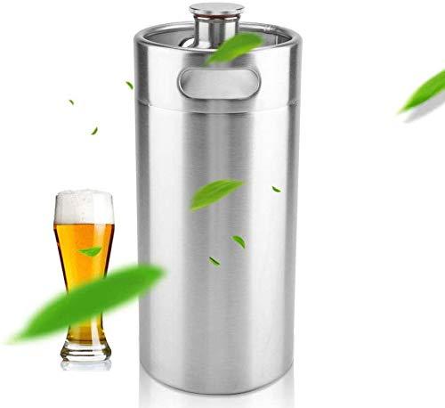 APUPPY La Cerveza de Barril, 5L / 3.6L / 2L Mini Barril Estilo Growler Acero Inoxidable del Barril de Cerveza Lleva a Cabo la Cerveza para el hogar Comida campestre Que acampa,5L