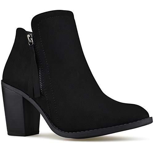 Premier Standard - Women's Elastic Side Panel Ankle Bootie - Comfortable Closed Toe Shoe – Low Heel Casual Comfortable Walking Boot, TPS Booties- Evah Cognac Size 7